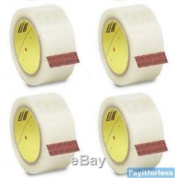 3 x 1000 Yds 2 Mil Clear 3M 371 Hot Melt Box Carton Sealing Tape 4 Rolls