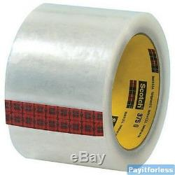 3 x 55 Yds 3.1 Mil Clear 3M 375 Hot Melt Box Carton Sealing Tape 24 Rolls
