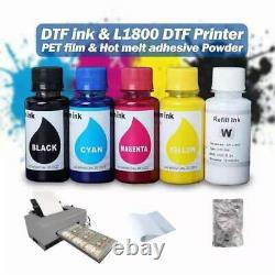 A3 L1800 Modified DTF Printer with DTF ink and PET film Hot melt adhesive Powder