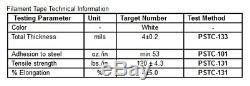 Filament Tape 2x 60 yards Fiberglass Reinforced, Hot Melt Adhesive (4 Rolls)
