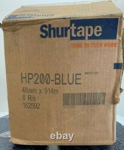 New 6 Rolls 162592 Shurtape HP200 Blue Hot Melt Packaging Tape 48mm x 914m