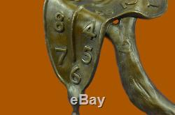 Salvador Dali Melting Clock Tribute Bronze Sculpture Abstract Hot Cast Figure Nr