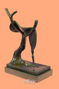 Salvador Dali Melting Clock Tribute Bronze Sculpture Abstract Hot Cast Figurine