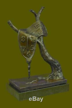 Salvador Dali Melting Clock Tribute Bronze Sculpture Hot Cast Abstract Art Deal