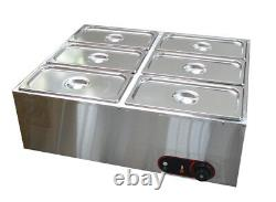 110v1500w 6-pan Chocolate Melter Pot Chocolate Melting Hot Well Acier Inoxydable