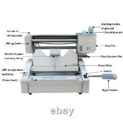 110v A4 Hot Melt Glue Book Binder Binding Machine + Livreur De Papier Sans Fil Cadeau