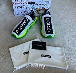 Hot Auth Dolce & Gabbana Blanc Sorrento Withgreen Faire Fondre Baskets Sz 42 Eur 9 Etats-unis